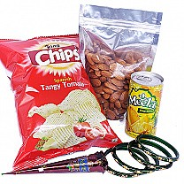 Almonds, Chips, Can Juice, Mehendi & Bangles