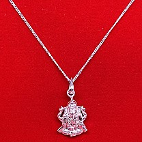 Ganesh Ji Silver Pendant With Necklace (Design 1)