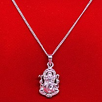 Ganesh Ji Silver Pendant With Necklace (Design 3)