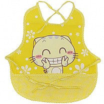 Smiling Kitty Design Apron For Baby - Yellow