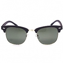 Matte Black Attractive Half Rim Sunglasses