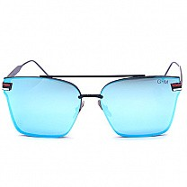 Metal Frame Rimless Blue Sunglasses