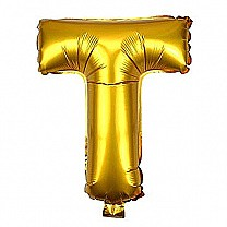 "Foil Balloon Alphabet ""T"" - Bright Golden"