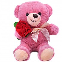 Pink Teddy Bear with Rose- 10''