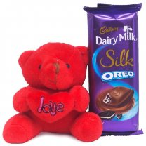 Adorable Red Teddy Bear with Dairy Milk Silk Oreo
