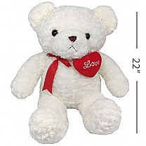 Adorable White Teddy Bear With Love Heart