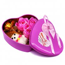 Pink Heart Shaped Tin Box with Teddy and Roses Inside