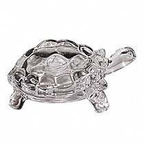 Crystal Clear Glass Tortoise - Silver (Goodluck Gift)