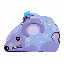 Mouse Design Blue Piggy Bank 4'' Tall