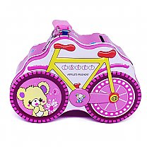 Pink Bicycle Design Cute Piggy Bank 4'' Tall