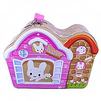 Beautiful House Piggy Bank For Kids 5.5'' (Pink & Brown)
