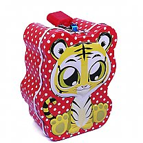 Cute Tiger Design Mini Piggy Bank 4'' Tall - Red