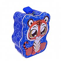 Cute Tiger Design Mini Piggy Bank 4'' Tall - Blue