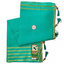 Golden Border Plain Cotton Saree - Mint