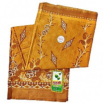 Brown Paisley Design Cotton Saree