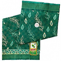 Green Floral Printed Cotton Saree