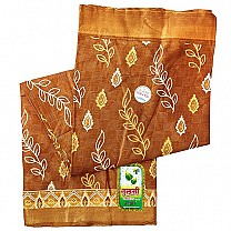 Brown Floral Printed Cotton Saree