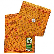Flower Printed Orange Cotton Saree