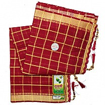 Zari Weave Cotton Saree With Embroidered Border - Maroon
