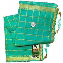 Zari Weave Cotton Saree With Embroidered Border - Mint Green