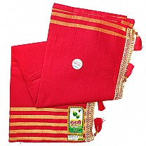 Red Cotton Saree With Embroidered Achal