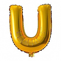 "Foil Balloon Alphabet ""U"" - Bright Golden"