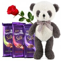 Dairy Milk Silk Combo With Panda & Red Rose