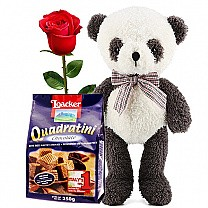 Loacker Quadratini Chocolate Wafer With Panda & Rose