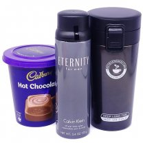 Calvin Klein Eternity Body Spray With Vacuum Mug & Hot Chocolate
