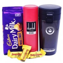 Black Vacuum Mug With Dunhill Body Spray & Chocolates