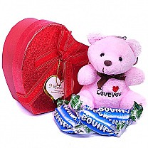 Miniature Chocolates & Cute Teddy in Heart Box