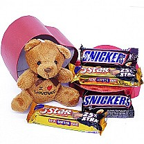 Snickers & Cadbury 5 Star With Teddy Bear in Red Heart Box