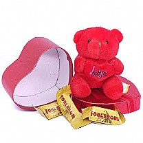 Miniature Toblerone With Red Teddy Bear in Heart Box