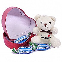 Bounty Miniature With Teddy Bear in Red Heart Box