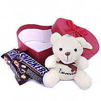Snickers Chocolate Bar With Teddy Bear in Heart Box