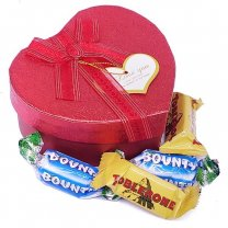 Assorted Miniature Chocolates in Red Heart Box