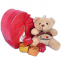 Assorted Gourmet Chocolates With Teddy in Red Heart Box