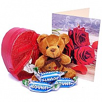 Heart Box Full Of Miniature Chocolates & Teddy With Greeting Card