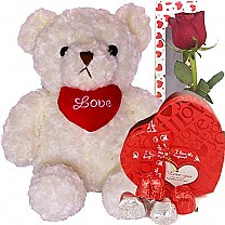 Cute White Teddy Bear with Rose & Chocolates