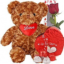 Teddy Bear with Heart Pillow, Rose & Chocolates