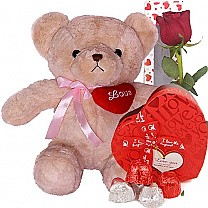 Adorable Teddy Bear with Rose & Chocolates