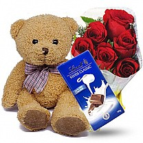 Soft Brown Teddy Bear With Chocolate & Rose