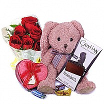 Chocolates With Pink Teddy Bear & Six Red Roses