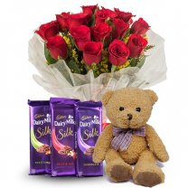 One Dozen Red Roses With Teddy & Dairy Milk Silk Combo
