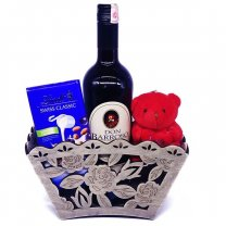 Lindt Swiss Chocolate Bar With Teddy & Red Sweet Wine in Basket