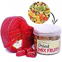 Dried Mix Fruits With Gourmet Chocolates in Heart Box
