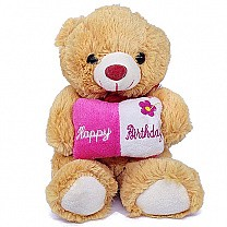 Light Brown Teddy Bear Carrying Birthday Cushion 7''