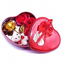 Red Heart Tin Box With Teddy & Gold Rose Inside