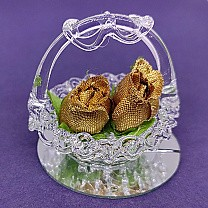 Mini Flower Basket Glass Showpiece