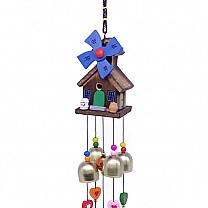 Wooden House Design Decorative Wind Chime 23'' - Blue